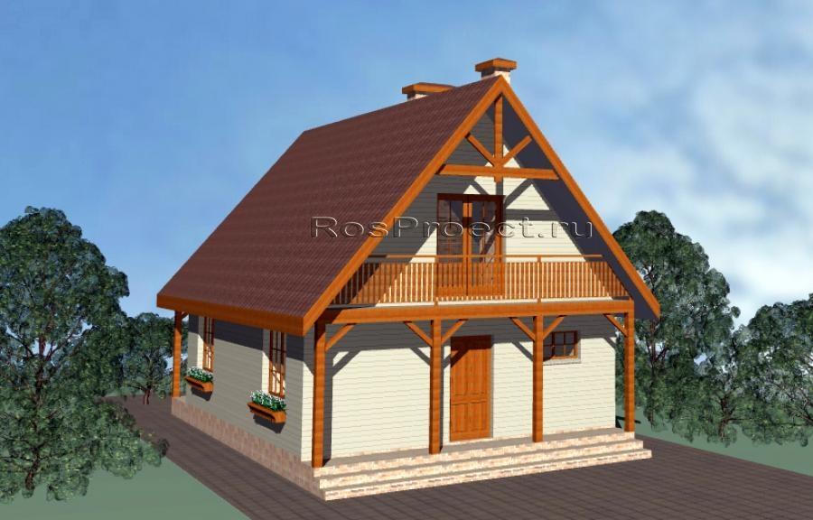 Дом с мансардой, террасой и балконами rpg1090 в сыктывкаре -.